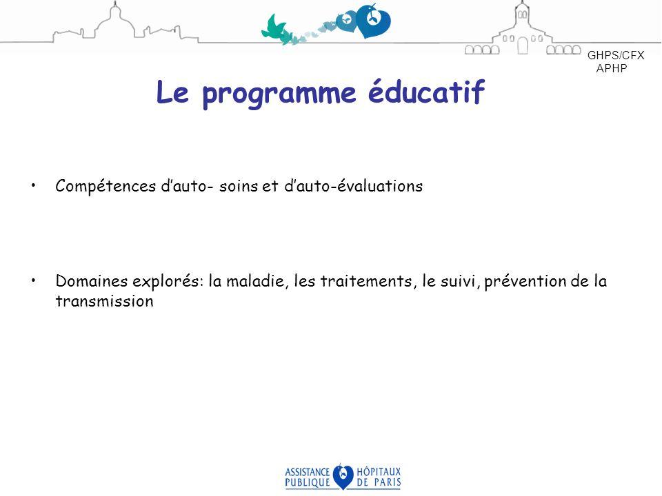 Le programme éducatif Compétences dauto- soins et dauto-évaluations Domaines explorés: la maladie, les traitements, le suivi, prévention de la transmi