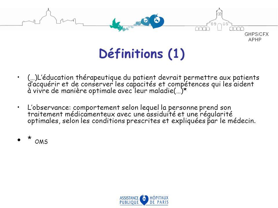 Définitions (1) (…)Léducation thérapeutique du patient devrait permettre aux patients dacquérir et de conserver les capacités et compétences qui les a