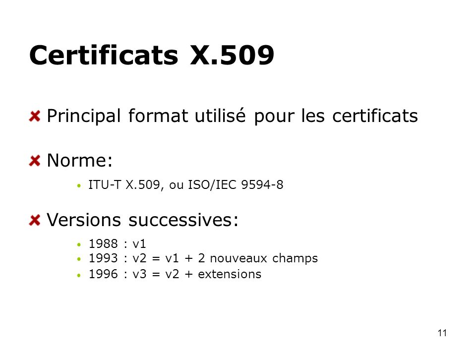 11 Certificats X.509 Principal format utilisé pour les certificats Norme: ITU-T X.509, ou ISO/IEC 9594-8 Versions successives: 1988 : v1 1993 : v2 = v