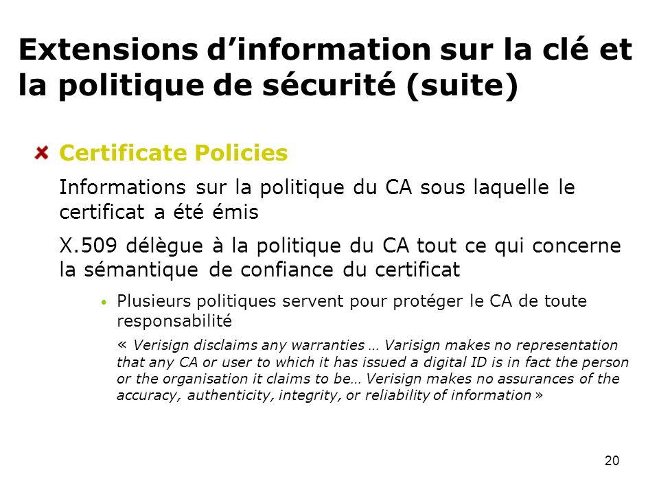 20 Extensions dinformation sur la clé et la politique de sécurité (suite) Certificate Policies Informations sur la politique du CA sous laquelle le ce