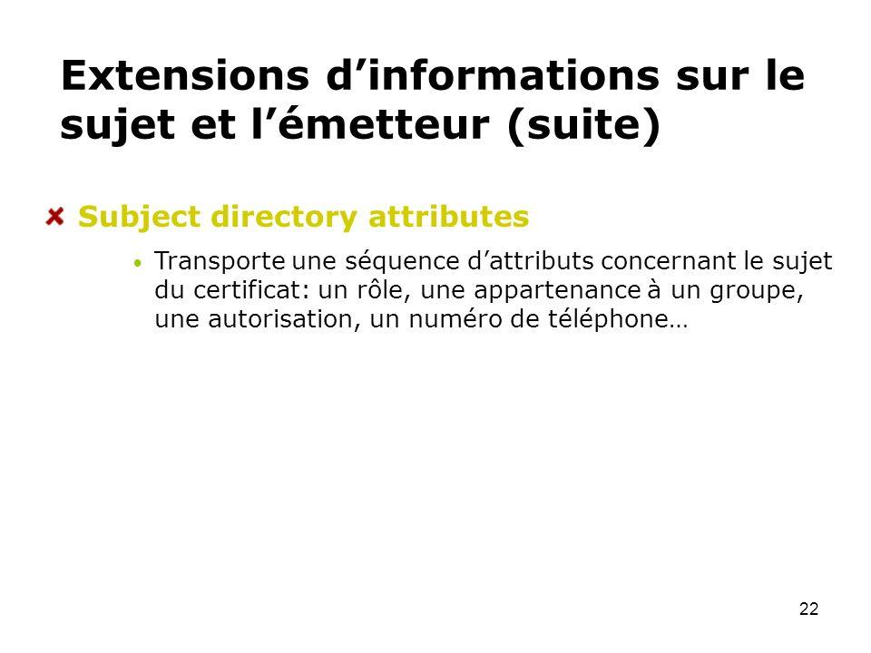 22 Extensions dinformations sur le sujet et lémetteur (suite) Subject directory attributes Transporte une séquence dattributs concernant le sujet du c