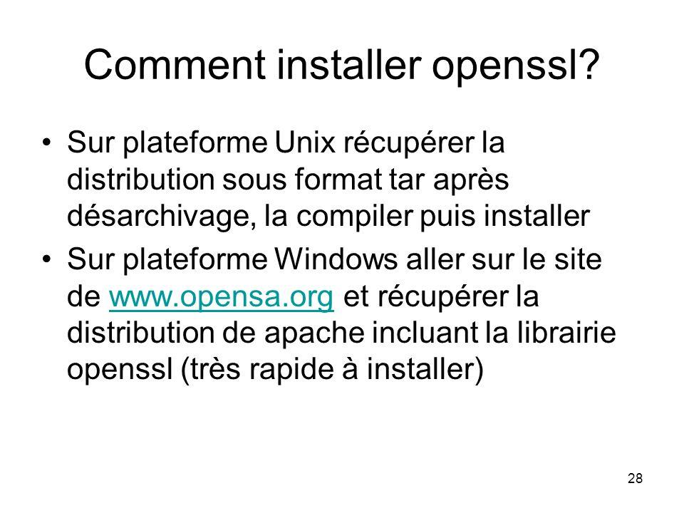 28 Comment installer openssl? Sur plateforme Unix récupérer la distribution sous format tar après désarchivage, la compiler puis installer Sur platefo