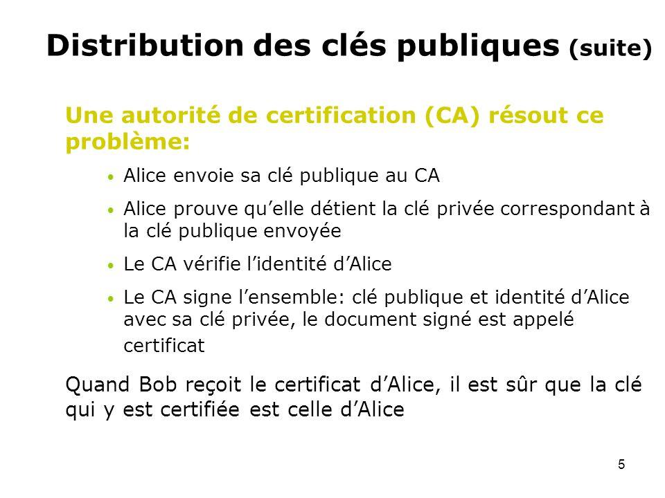 5 Distribution des clés publiques (suite) Une autorité de certification (CA) résout ce problème: Alice envoie sa clé publique au CA Alice prouve quell