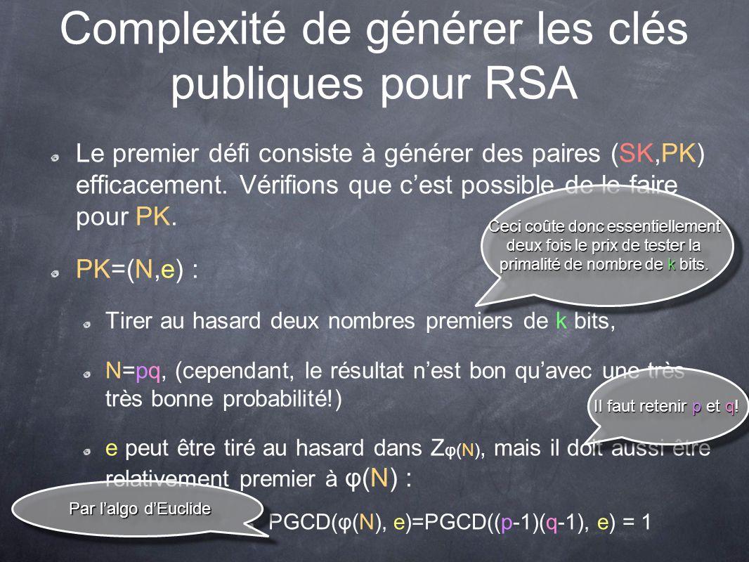 Complexité de générer les clés publiques pour RSA Le premier défi consiste à générer des paires (SK,PK) efficacement.