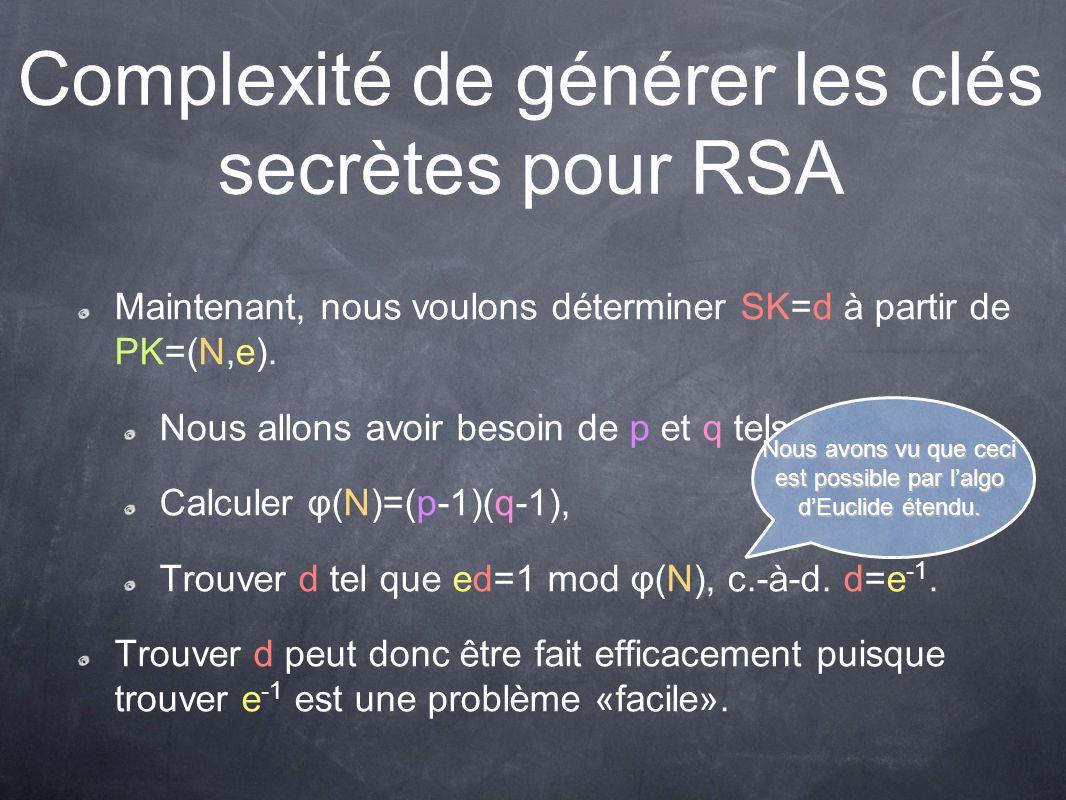 Complexité de générer les clés secrètes pour RSA Maintenant, nous voulons déterminer SK=d à partir de PK=(N,e).