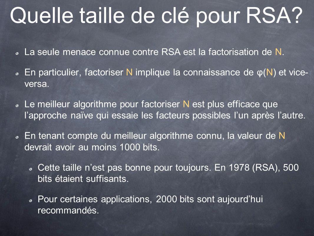Quelle taille de clé pour RSA.La seule menace connue contre RSA est la factorisation de N.