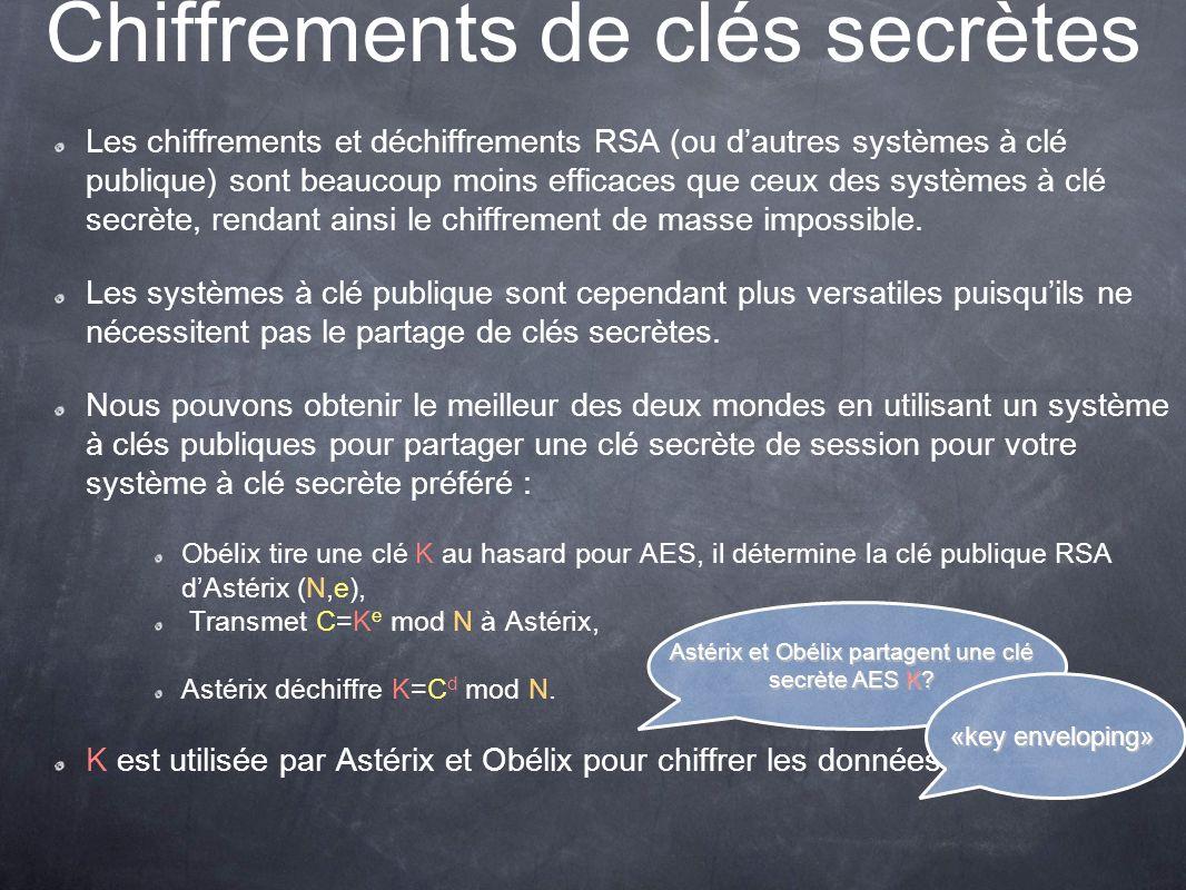 Chiffrements de clés secrètes Les chiffrements et déchiffrements RSA (ou dautres systèmes à clé publique) sont beaucoup moins efficaces que ceux des systèmes à clé secrète, rendant ainsi le chiffrement de masse impossible.