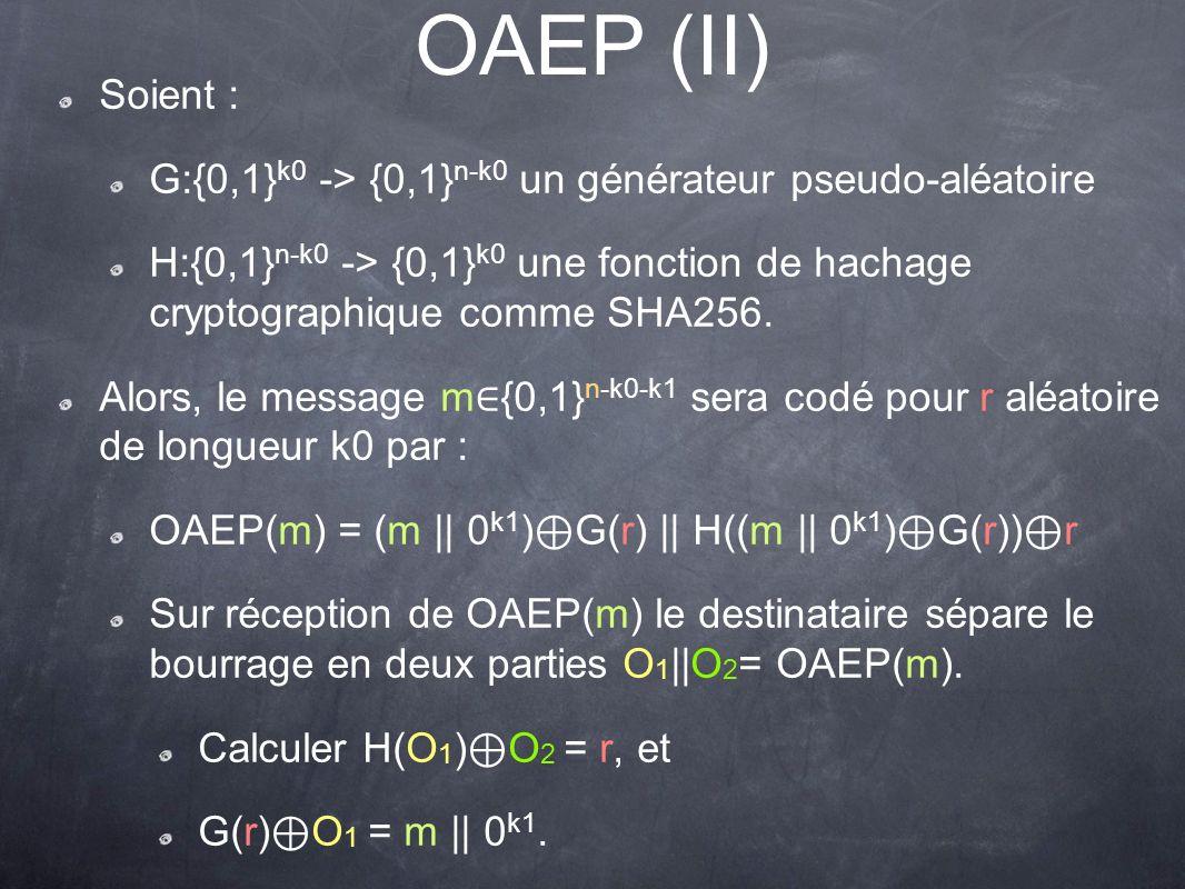 OAEP (II) Soient : G:{0,1} k0 -> {0,1} n-k0 un générateur pseudo-aléatoire H:{0,1} n-k0 -> {0,1} k0 une fonction de hachage cryptographique comme SHA256.