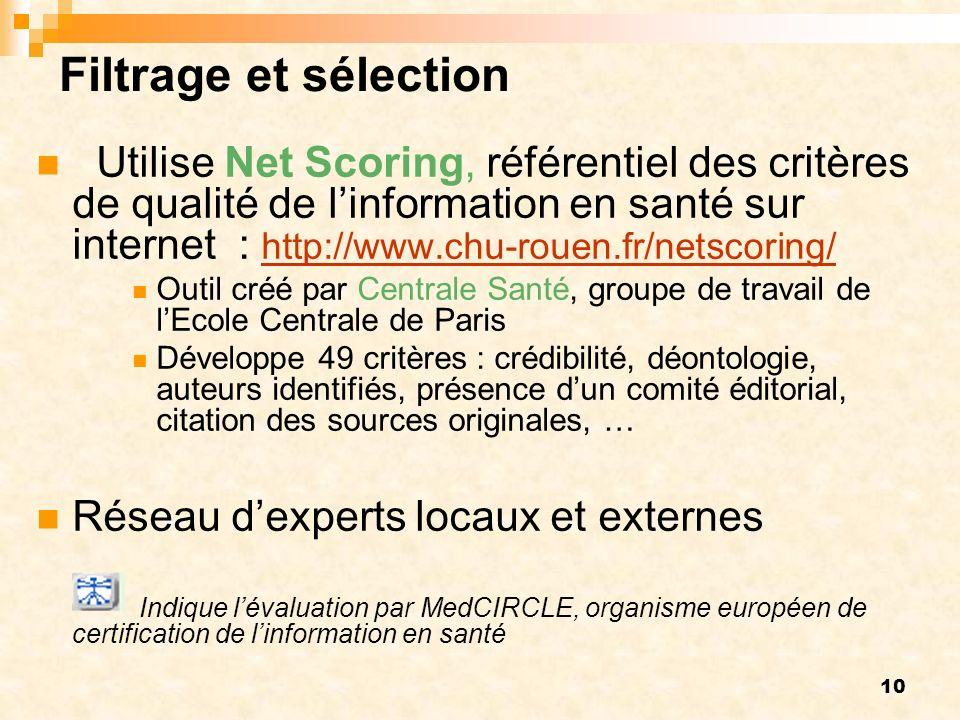 10 Filtrage et sélection Utilise Net Scoring, référentiel des critères de qualité de linformation en santé sur internet : http://www.chu-rouen.fr/netscoring/ http://www.chu-rouen.fr/netscoring/ Outil créé par Centrale Santé, groupe de travail de lEcole Centrale de Paris Développe 49 critères : crédibilité, déontologie, auteurs identifiés, présence dun comité éditorial, citation des sources originales, … Réseau dexperts locaux et externes Indique lévaluation par MedCIRCLE, organisme européen de certification de linformation en santé