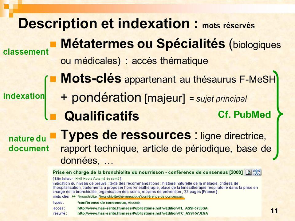 11 Description et indexation : mots réservés Métatermes ou Spécialités ( biologiques ou médicales) : accès thématique Mots-clés appartenant au thésaur