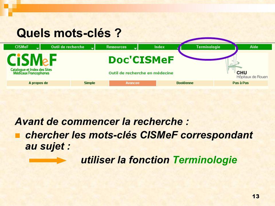 13 Quels mots-clés ? Avant de commencer la recherche : chercher les mots-clés CISMeF correspondant au sujet : utiliser la fonction Terminologie