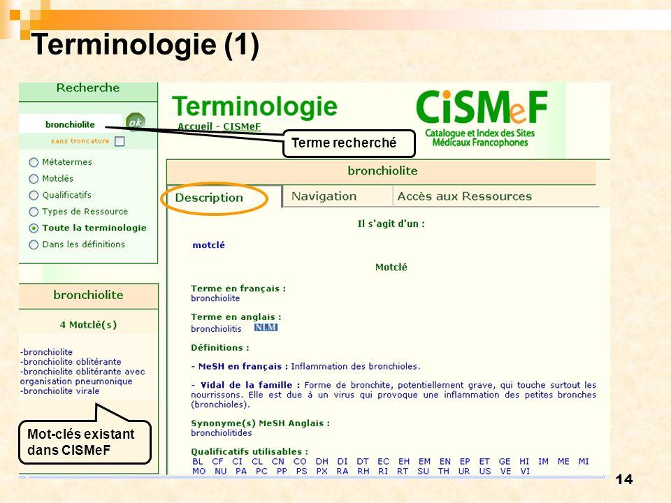 14 Terminologie (1) Terme recherché Mot-clés existant dans CISMeF