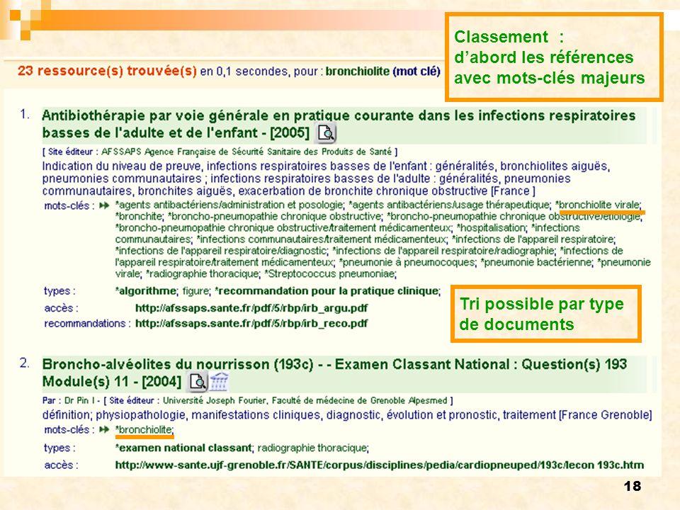 18 Classement : dabord les références avec mots-clés majeurs Tri possible par type de documents