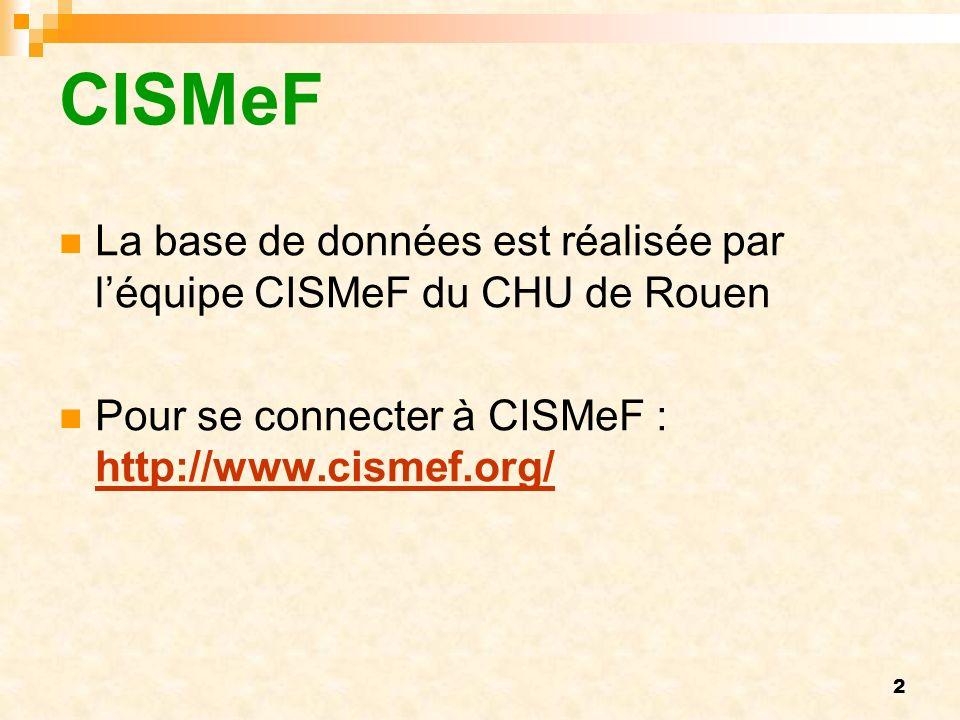 2 CISMeF La base de données est réalisée par léquipe CISMeF du CHU de Rouen Pour se connecter à CISMeF : http://www.cismef.org/ http://www.cismef.org/