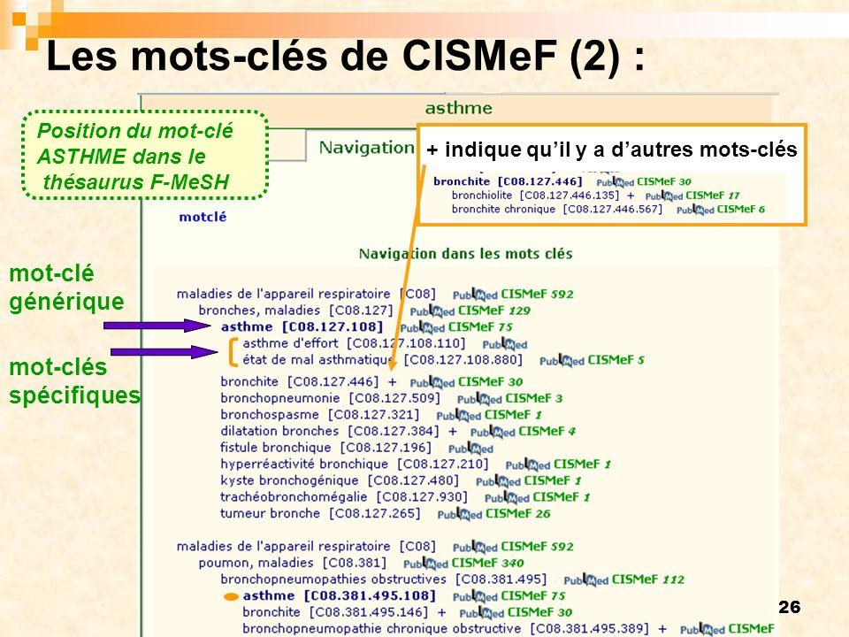 26 Les mots-clés de CISMeF (2) : mot-clé générique mot-clés spécifiques + indique quil y a dautres mots-clés Position du mot-clé ASTHME dans le thésau