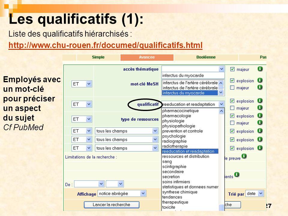 27 Employés avec un mot-clé pour préciser un aspect du sujet Cf PubMed Les qualificatifs (1): Liste des qualificatifs hiérarchisés : http://www.chu-rouen.fr/documed/qualificatifs.html