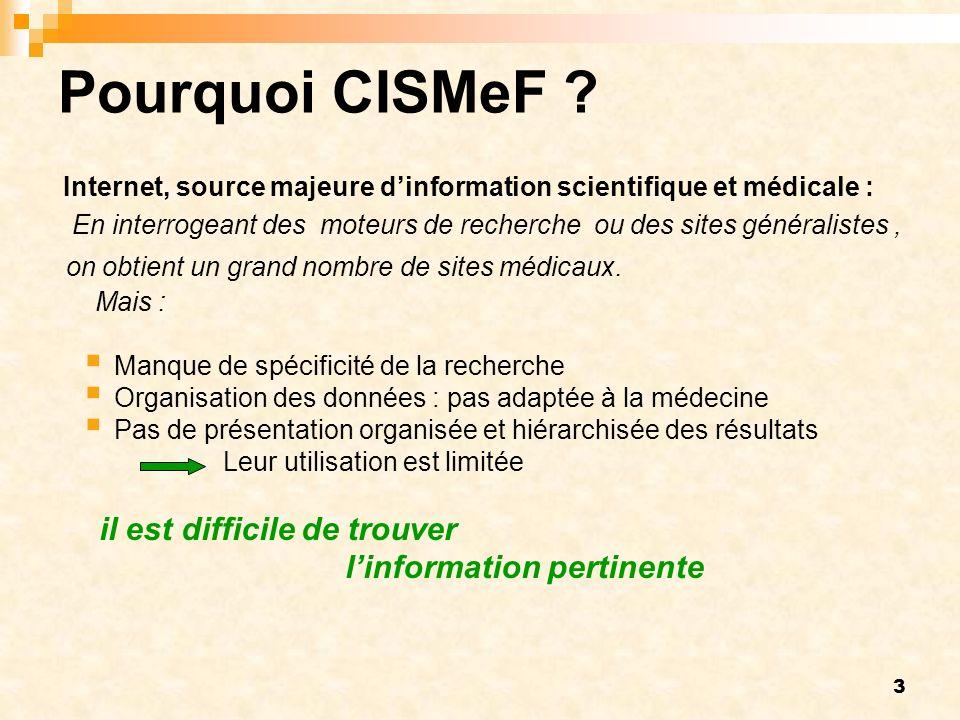 3 Pourquoi CISMeF ? Internet, source majeure dinformation scientifique et médicale : En interrogeant des moteurs de recherche ou des sites généraliste