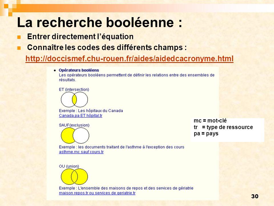 30 La recherche booléenne : Entrer directement léquation Connaître les codes des différents champs : http://doccismef.chu-rouen.fr/aides/aidedcacronyme.html mc = mot-clé tr = type de ressource pa = pays