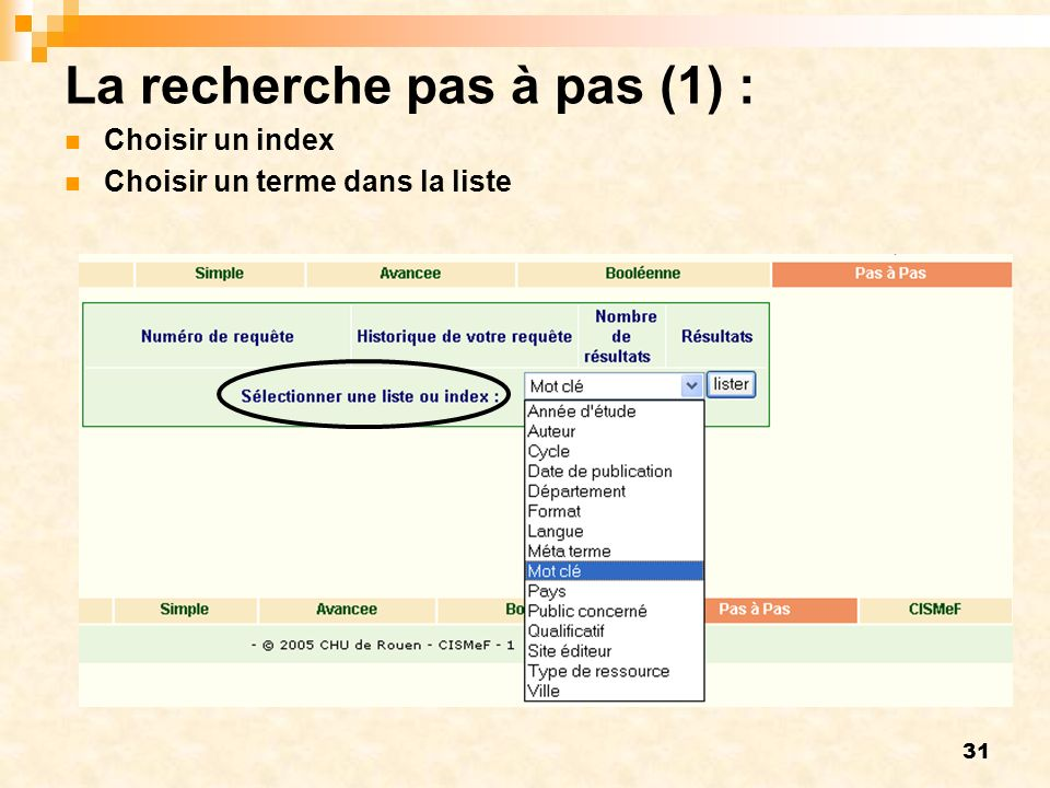 31 La recherche pas à pas (1) : Choisir un index Choisir un terme dans la liste