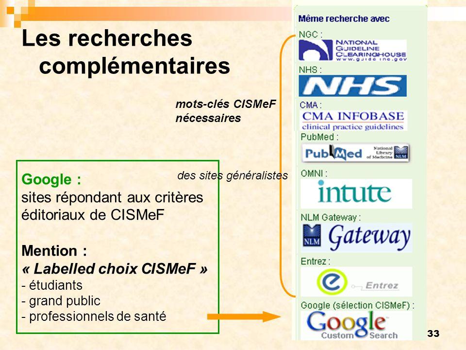 33 mots-clés CISMeF nécessaires Google : sites répondant aux critères éditoriaux de CISMeF Mention : « Labelled choix CISMeF » - étudiants - grand public - professionnels de santé Les recherches complémentaires des sites généralistes