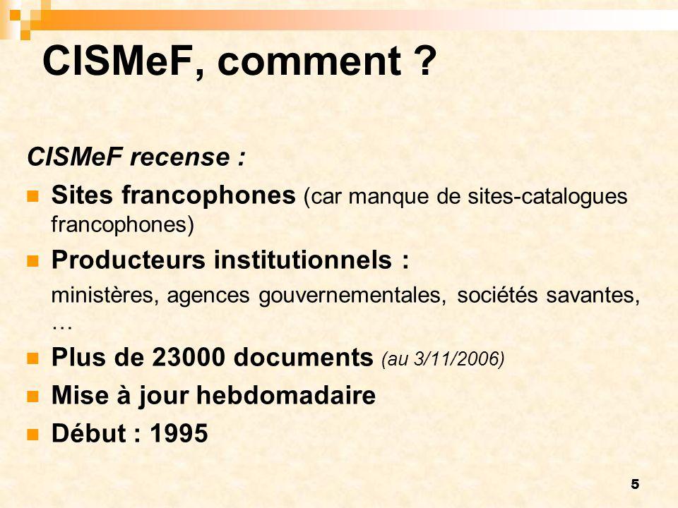 5 CISMeF, comment ? CISMeF recense : Sites francophones (car manque de sites-catalogues francophones) Producteurs institutionnels : ministères, agence