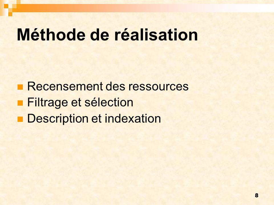8 Méthode de réalisation Recensement des ressources Filtrage et sélection Description et indexation