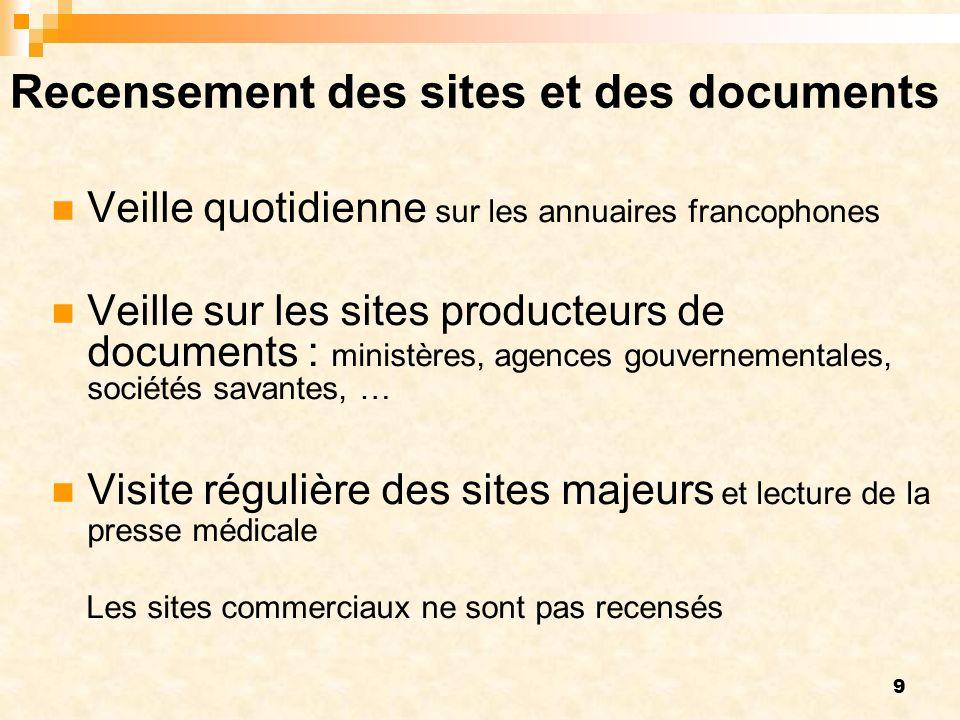 9 Recensement des sites et des documents Veille quotidienne sur les annuaires francophones Veille sur les sites producteurs de documents : ministères,