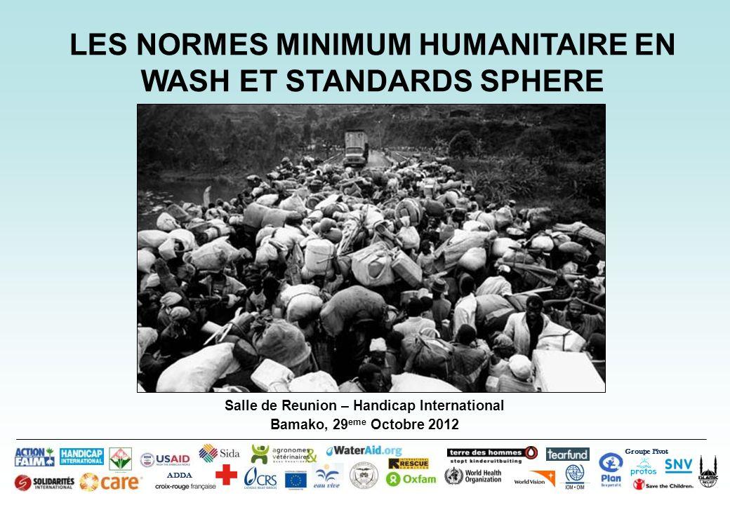 Salle de Reunion – Handicap International Bamako, 29 eme Octobre 2012 Groupe Pivot ADDA LES NORMES MINIMUM HUMANITAIRE EN WASH ET STANDARDS SPHERE