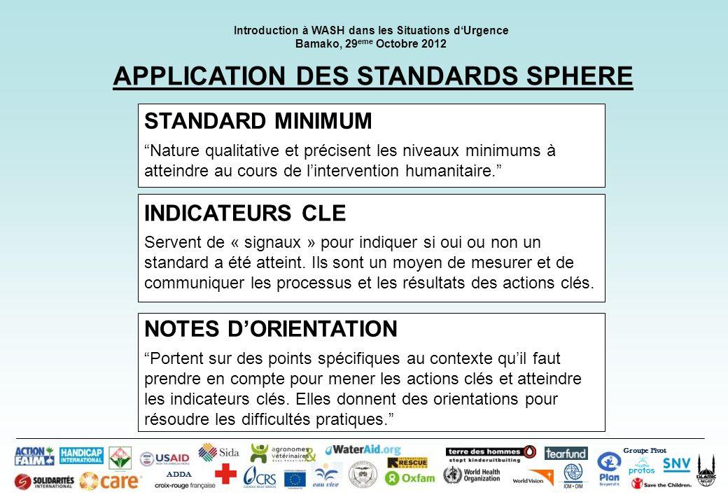 Groupe Pivot ADDA Introduction à WASH dans les Situations dUrgence Bamako, 29 eme Octobre 2012 APPLICATION DES STANDARDS SPHERE STANDARD MINIMUM Natur
