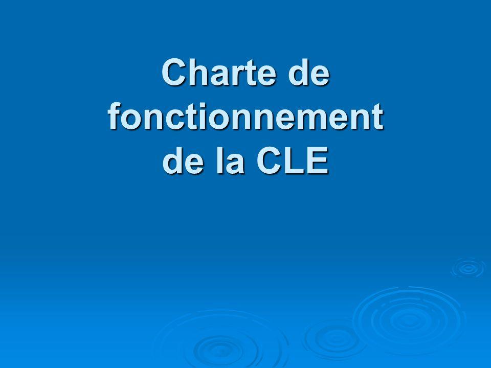 Charte de fonctionnement de la CLE