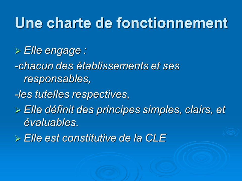 Une charte de fonctionnement Elle engage : Elle engage : -chacun des établissements et ses responsables, -les tutelles respectives, Elle définit des principes simples, clairs, et évaluables.