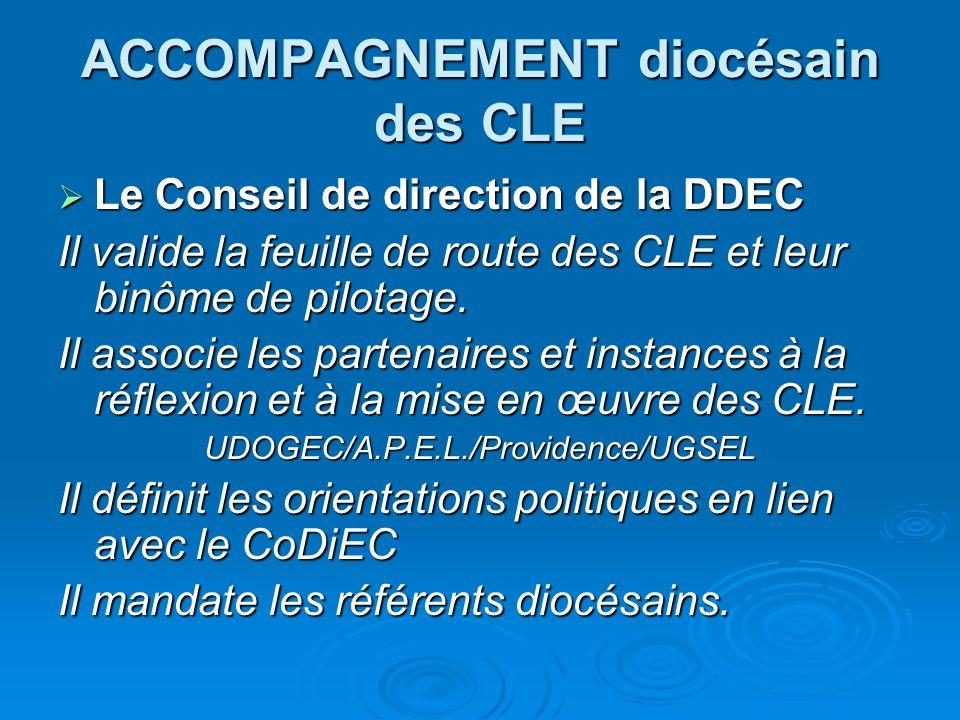 ACCOMPAGNEMENT diocésain des CLE Le Conseil de direction de la DDEC Le Conseil de direction de la DDEC Il valide la feuille de route des CLE et leur binôme de pilotage.