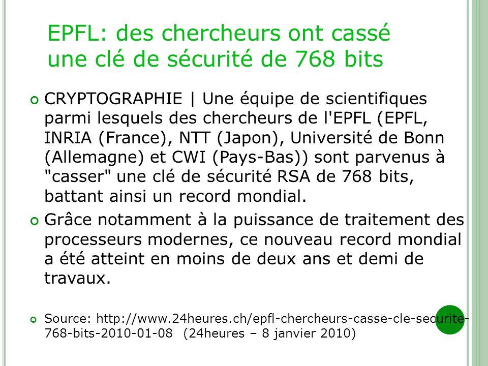 EPFL: des chercheurs ont cassé une clé de sécurité de 768 bits CRYPTOGRAPHIE | Une équipe de scientifiques parmi lesquels des chercheurs de l'EPFL (EP