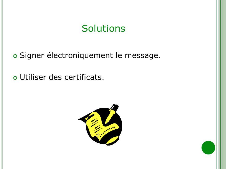 Solutions Signer électroniquement le message. Utiliser des certificats.