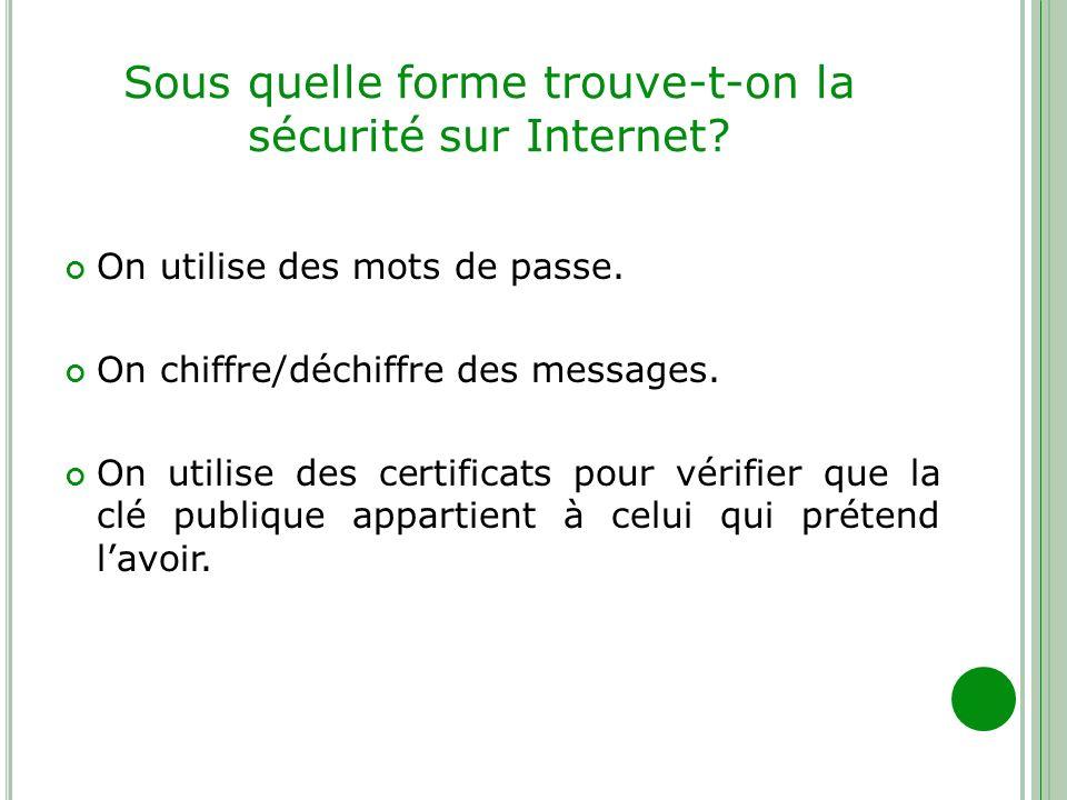 Sous quelle forme trouve-t-on la sécurité sur Internet? On utilise des mots de passe. On chiffre/déchiffre des messages. On utilise des certificats po