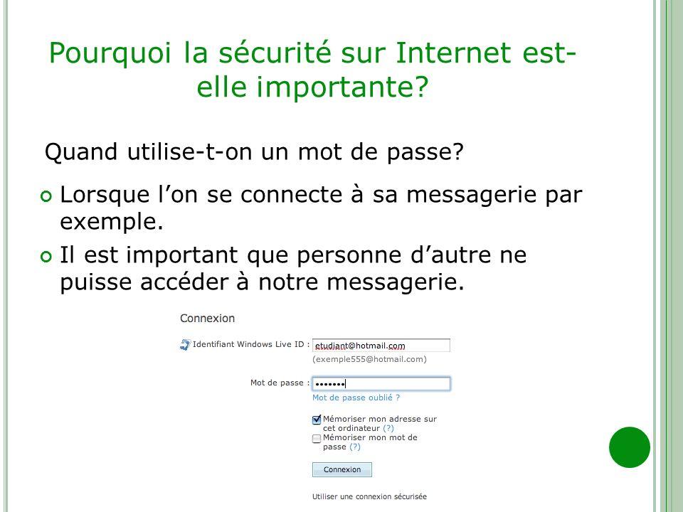 Pourquoi la sécurité sur Internet est- elle importante? Lorsque lon se connecte à sa messagerie par exemple. Il est important que personne dautre ne p