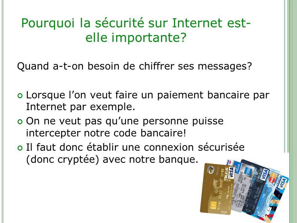 Pourquoi la sécurité sur Internet est- elle importante? Quand a-t-on besoin de chiffrer ses messages? Lorsque lon veut faire un paiement bancaire par