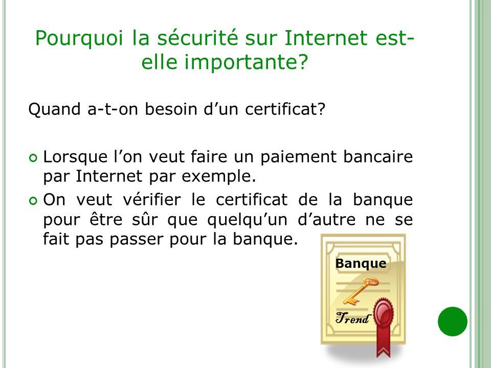Pourquoi la sécurité sur Internet est- elle importante? Quand a-t-on besoin dun certificat? Lorsque lon veut faire un paiement bancaire par Internet p