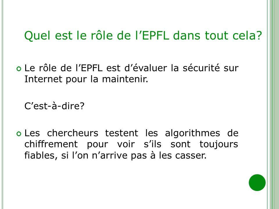 Quel est le rôle de lEPFL dans tout cela? Le rôle de lEPFL est dévaluer la sécurité sur Internet pour la maintenir. Cest-à-dire? Les chercheurs testen