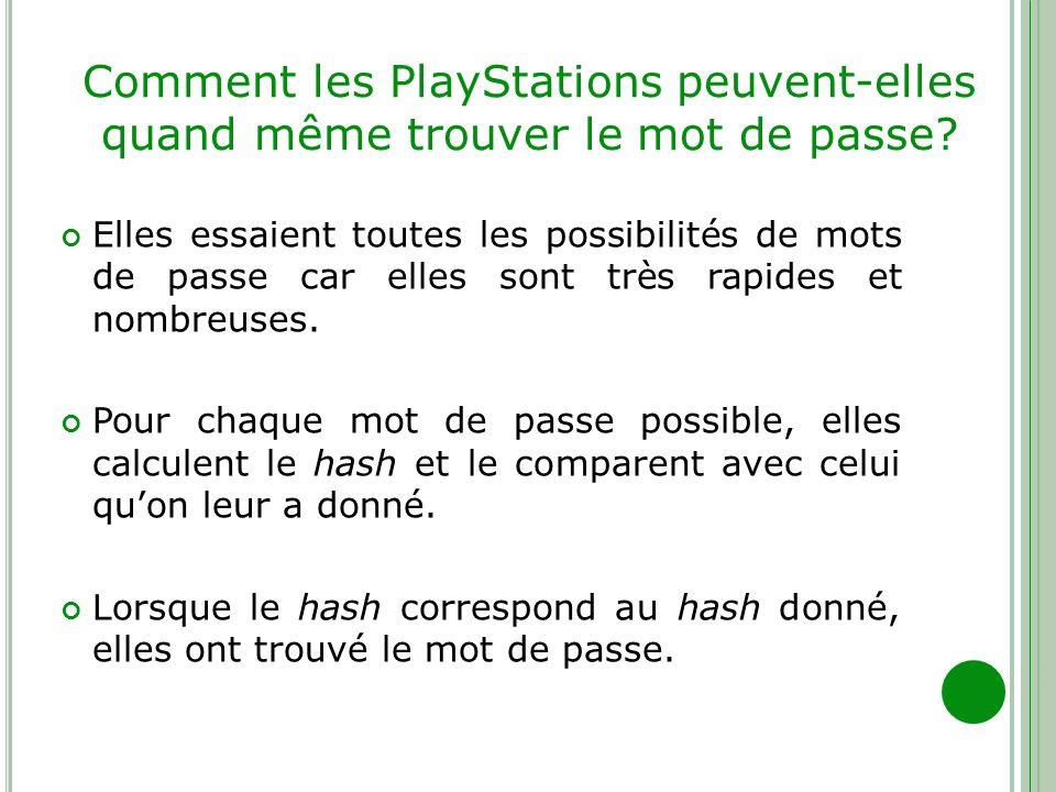 Comment les PlayStations peuvent-elles quand même trouver le mot de passe? Elles essaient toutes les possibilités de mots de passe car elles sont très