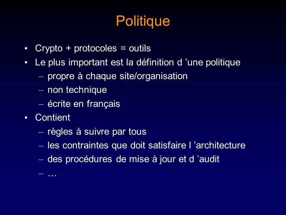 Politique Crypto + protocoles = outils Le plus important est la définition d une politique – propre à chaque site/organisation – non technique – écrit