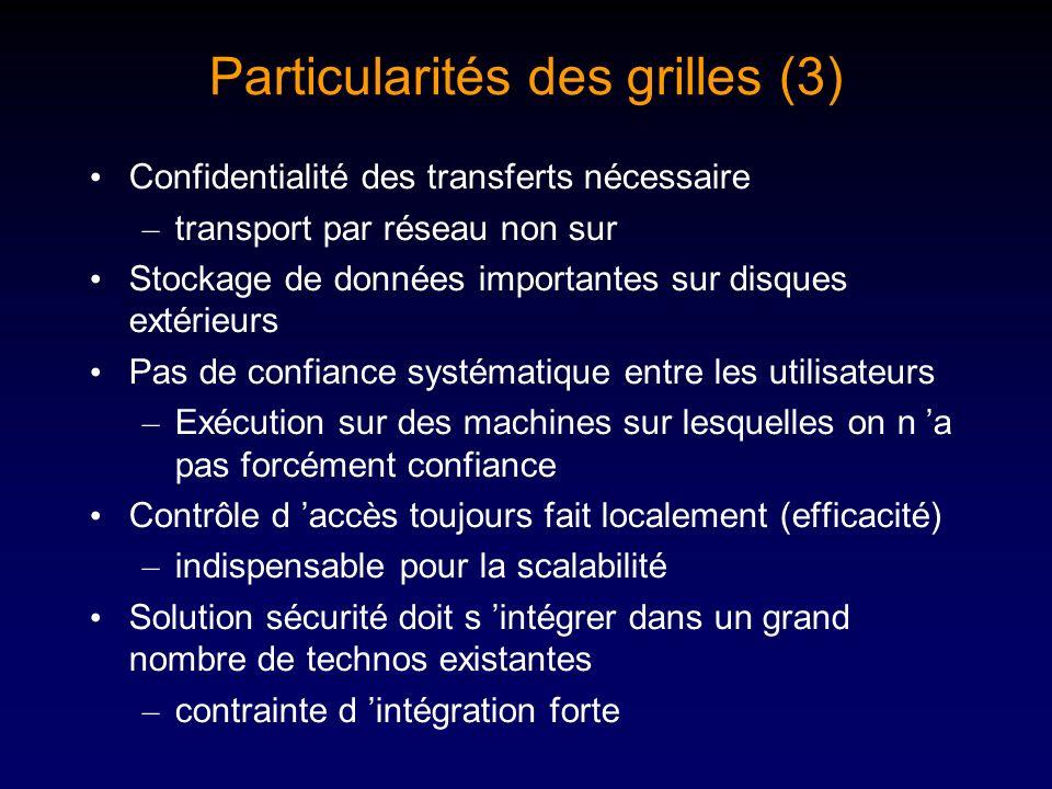 Particularités des grilles (3) Confidentialité des transferts nécessaire – transport par réseau non sur Stockage de données importantes sur disques ex