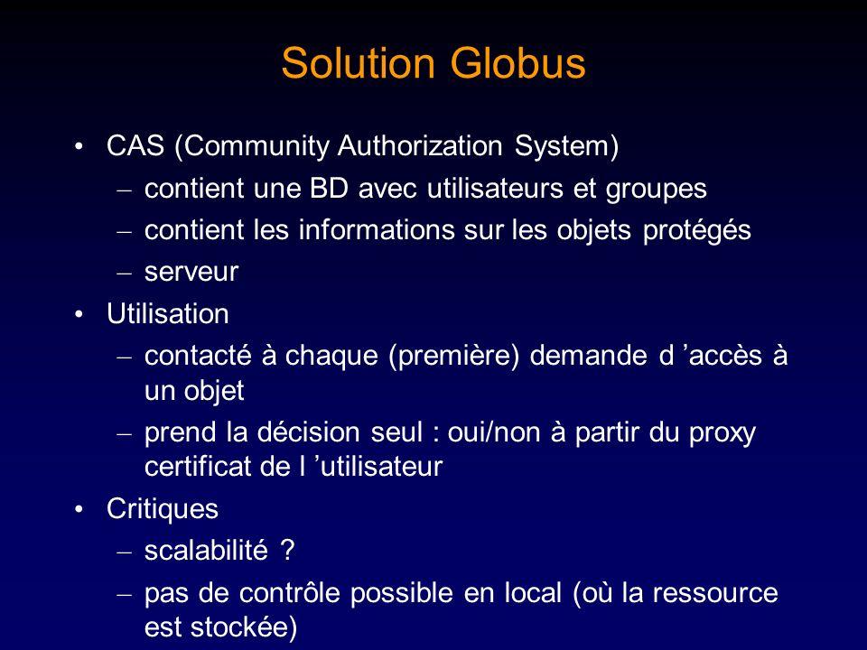 Solution Globus CAS (Community Authorization System) – contient une BD avec utilisateurs et groupes – contient les informations sur les objets protégé