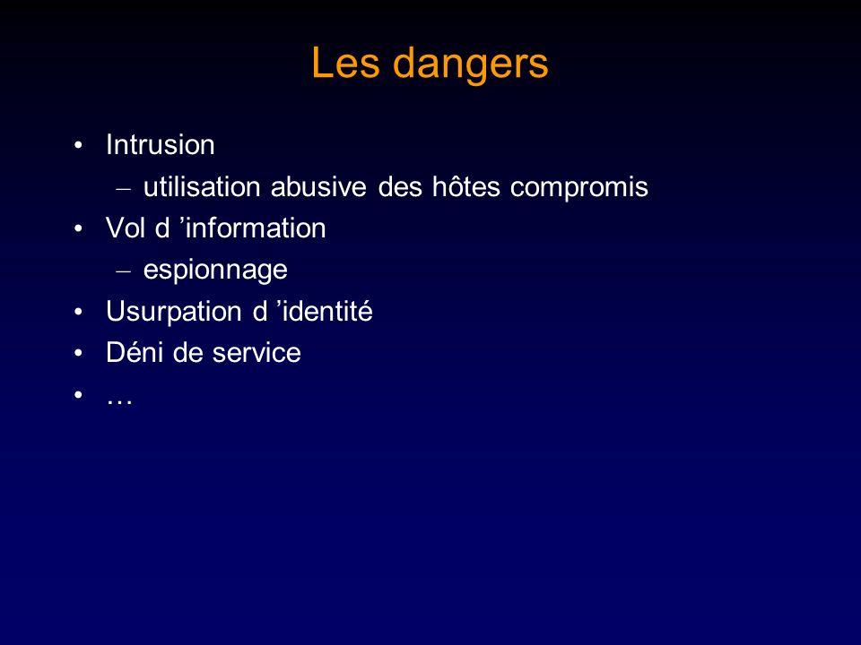 Les dangers Intrusion – utilisation abusive des hôtes compromis Vol d information – espionnage Usurpation d identité Déni de service …