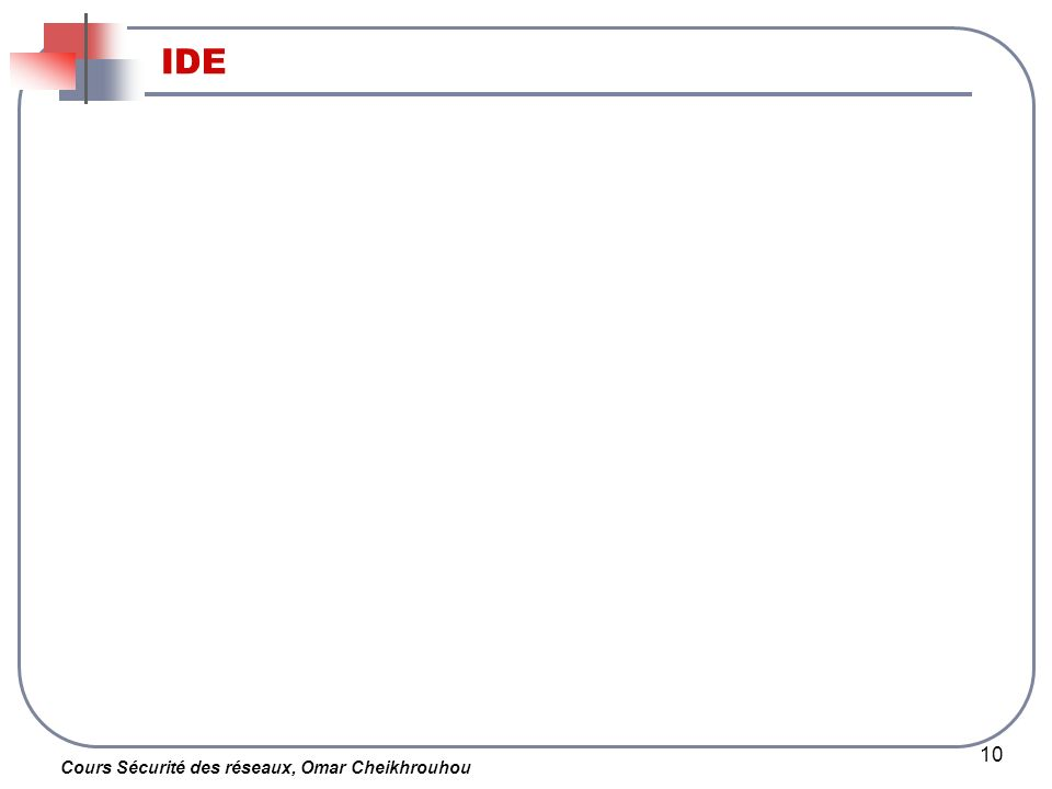 Cours Sécurité des réseaux, Omar Cheikhrouhou 10 IDE