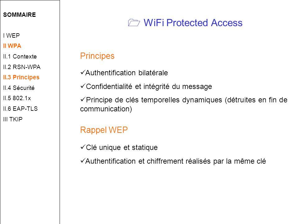 WiFi Protected Access Principes Authentification bilatérale Confidentialité et intégrité du message Principe de clés temporelles dynamiques (détruites en fin de communication) Rappel WEP Clé unique et statique Authentification et chiffrement réalisés par la même clé SOMMAIRE I WEP II WPA II.1 Contexte II.2 RSN-WPA II.3 Principes II.4 Sécurité II.5 802.1x II.6 EAP-TLS III TKIP