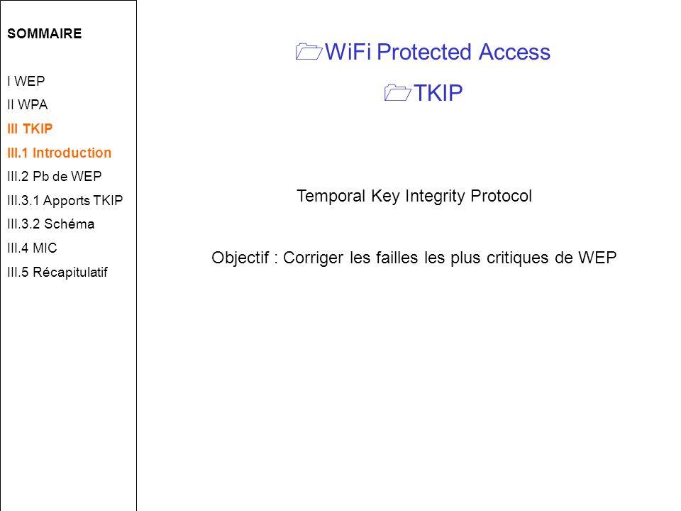 WiFi Protected Access TKIP Temporal Key Integrity Protocol Objectif : Corriger les failles les plus critiques de WEP SOMMAIRE I WEP II WPA III TKIP III.1 Introduction III.2 Pb de WEP III.3.1 Apports TKIP III.3.2 Schéma III.4 MIC III.5 Récapitulatif
