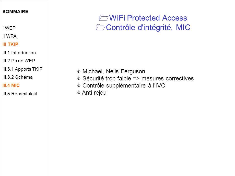 WiFi Protected Access Contrôle d intégrité, MIC Michael, Neils Ferguson Sécurité trop faible => mesures correctives Contrôle supplémentaire à lIVC Anti rejeu SOMMAIRE I WEP II WPA III TKIP III.1 Introduction III.2 Pb de WEP III.3.1 Apports TKIP III.3.2 Schéma III.4 MIC III.5 Récapitulatif