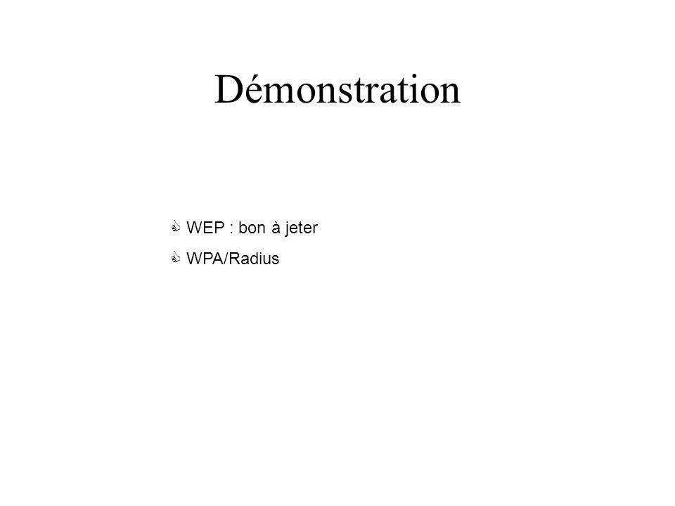 Démonstration WEP : bon à jeter WPA/Radius