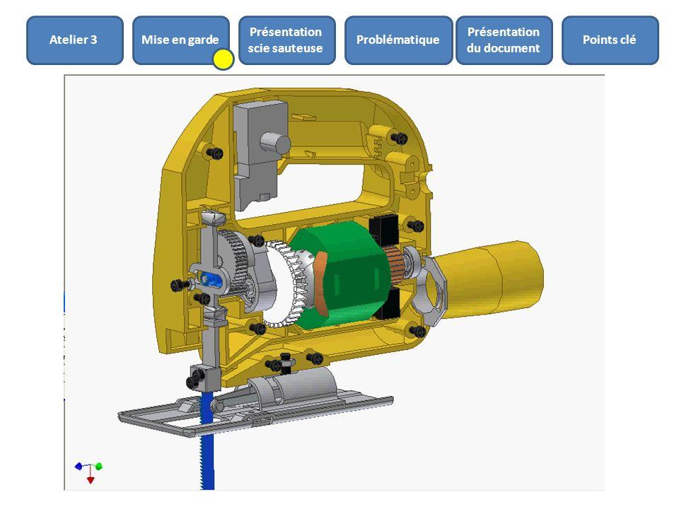 Présentation de la scie sauteuse Rotor moteur (Jaune) Manivelle (Bleu) Maneton (rouge) Coulisseau (rose) Système de transformation de mouvement altern
